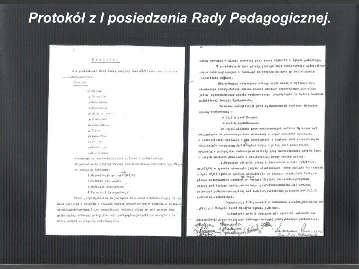 Protokół z I posiedzenia Rady Pedagogicznej.