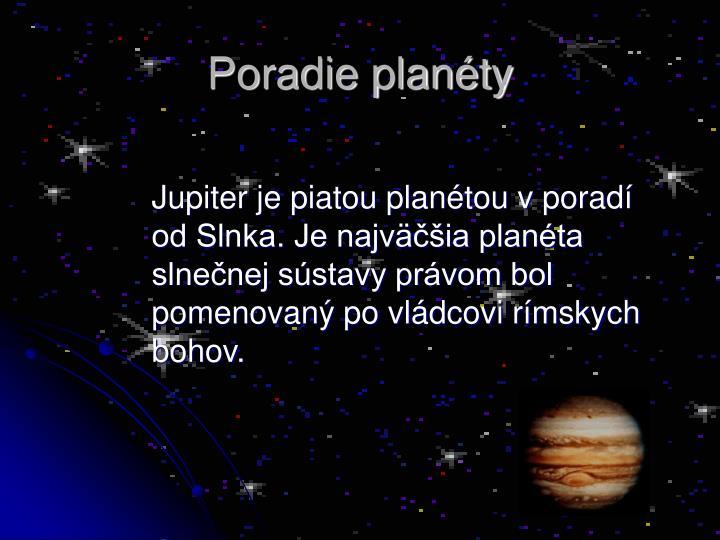 Poradie planéty