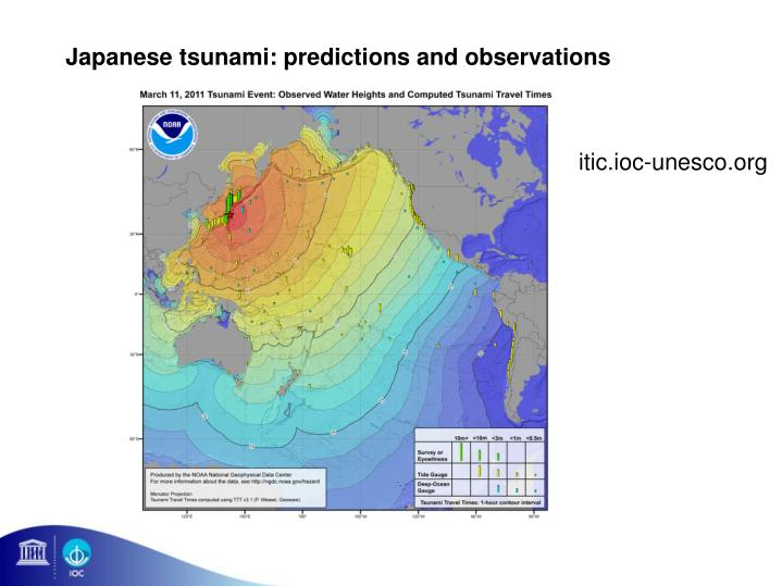 Japanese tsunami: predictions and observations