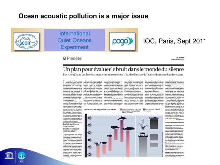 Ocean acoustic pollution is a major issue