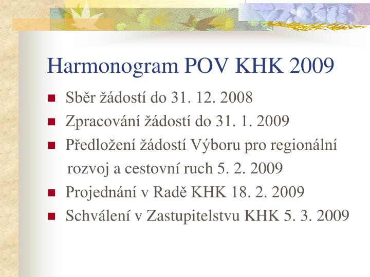 Harmonogram POV KHK 2009