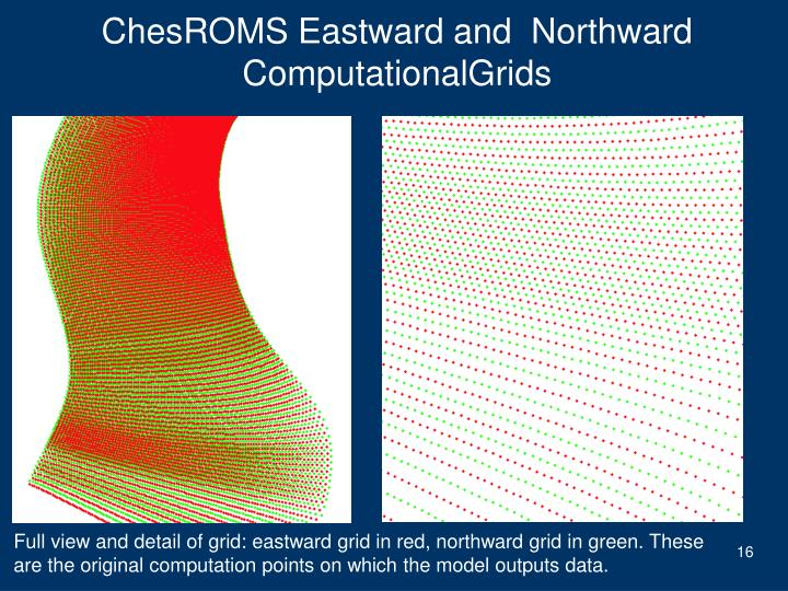 ChesROMS Eastward and  Northward ComputationalGrids