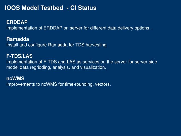 IOOS Model Testbed  - CI Status