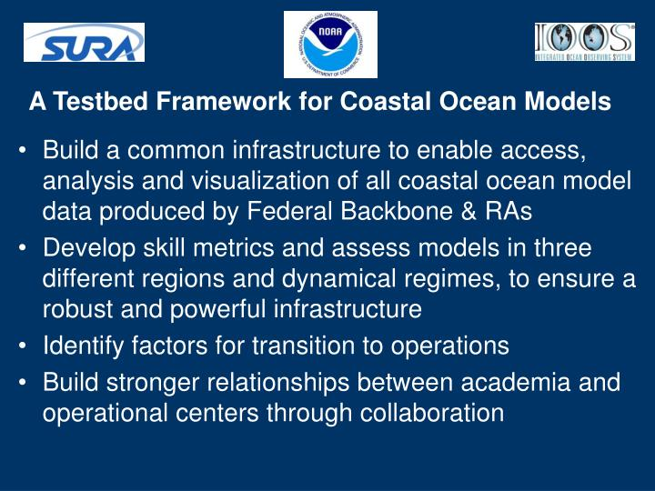 A Testbed Framework for Coastal Ocean Models