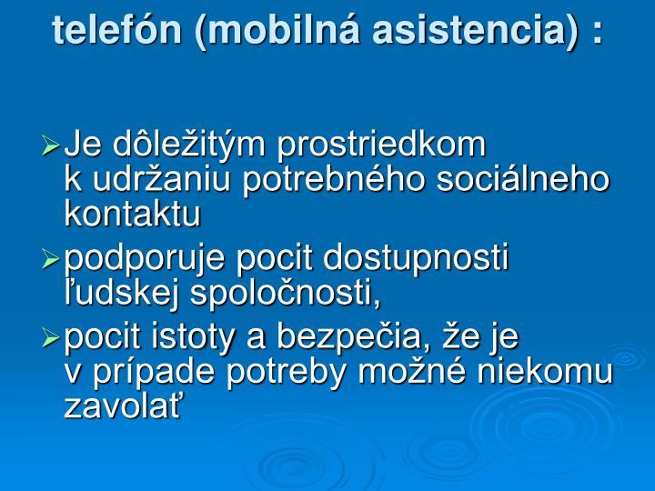 telefón (mobilná asistencia) :