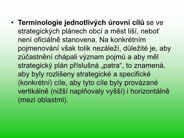 Terminologie jednotlivch rovn cl