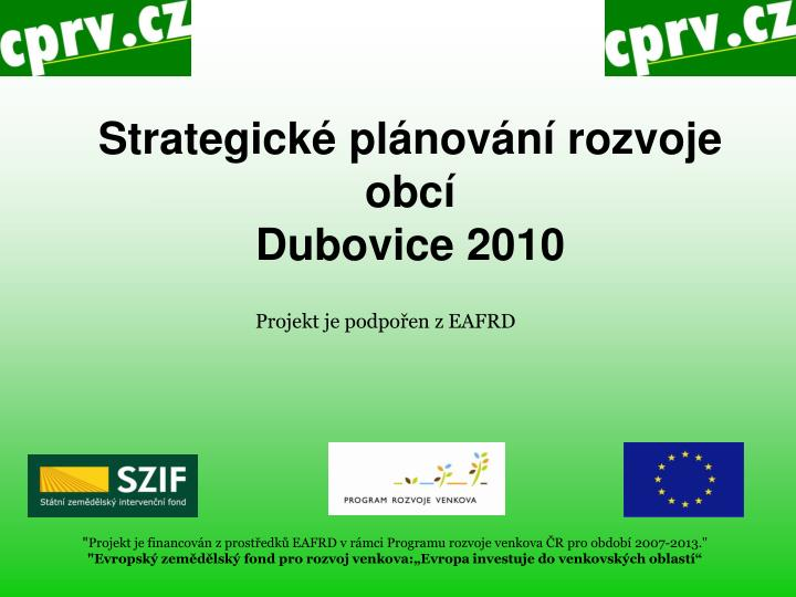 Strategick pl nov n rozvoje obc dubovice 2010