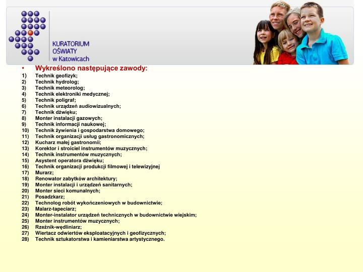 Wykreślono następujące zawody: