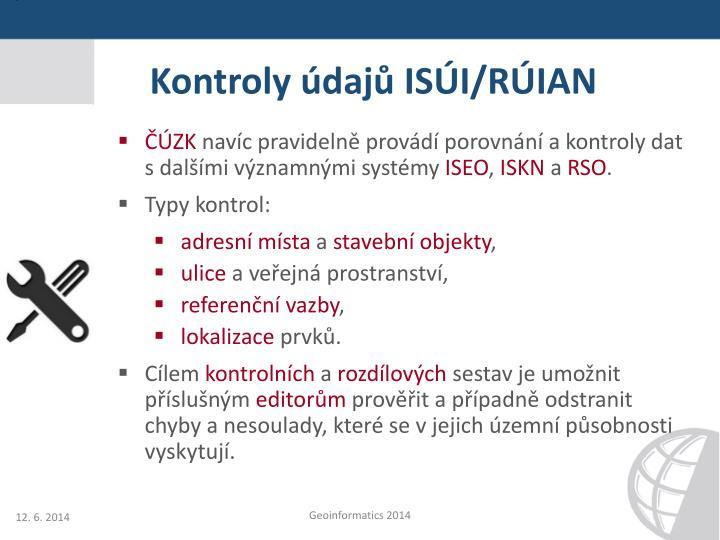 Kontroly údajů ISÚI/RÚIAN