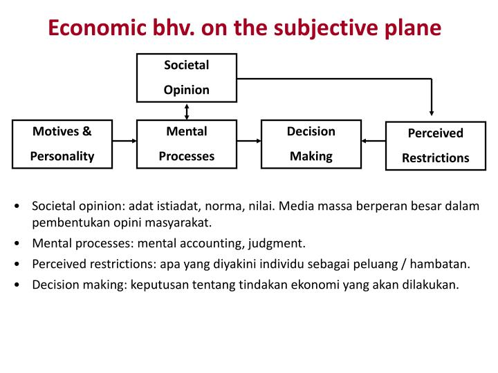 Economic bhv. on the subjective plane