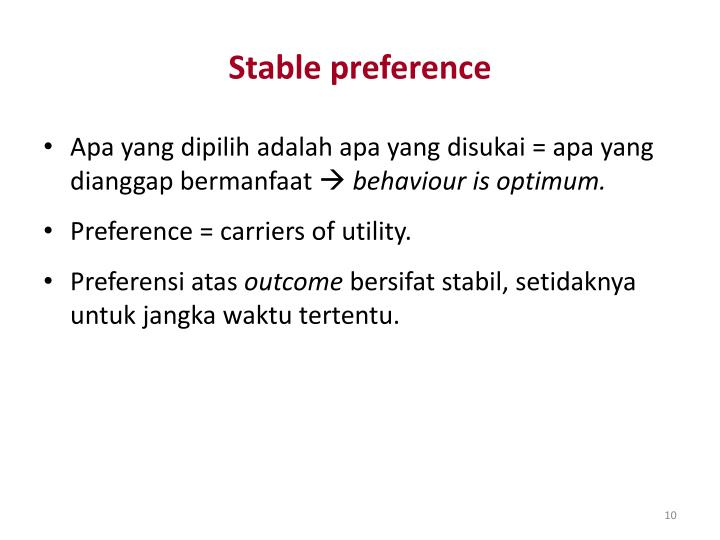 Stable preference