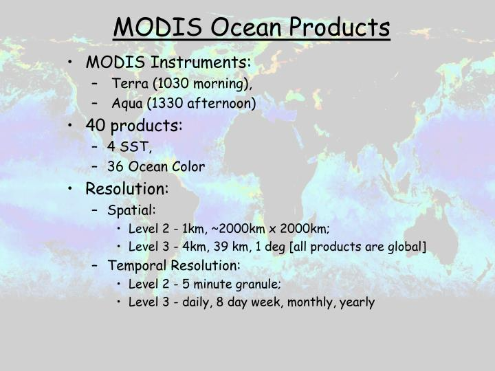 MODIS Ocean Products