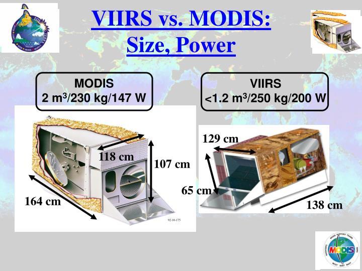 VIIRS vs. MODIS:  Size, Power