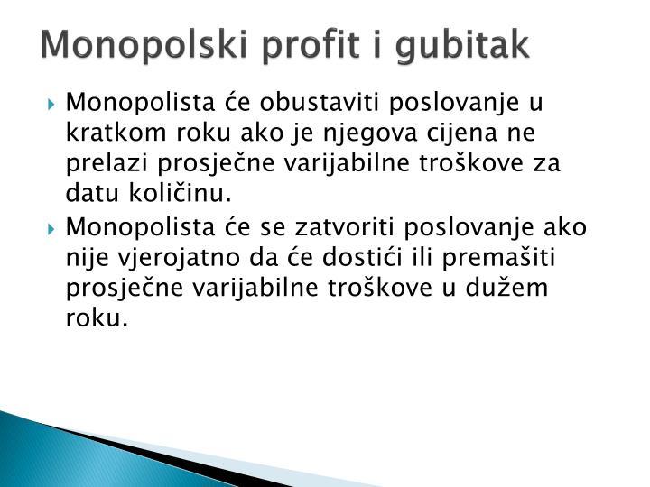 Monopolski profit i gubitak