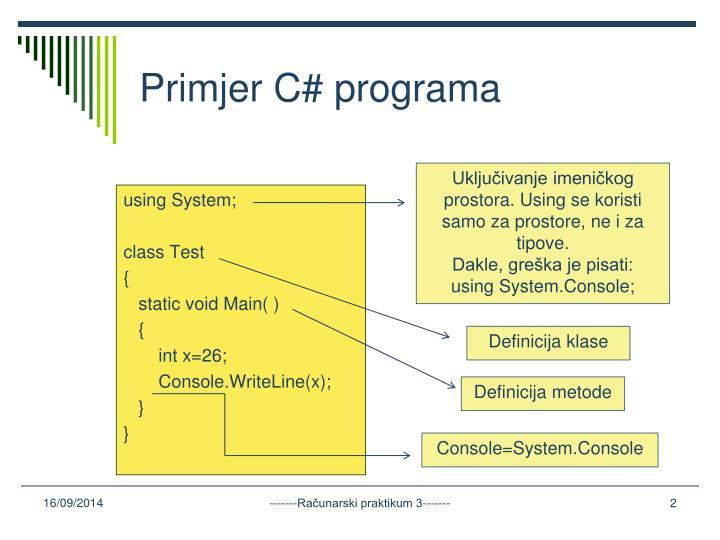Primjer C# programa