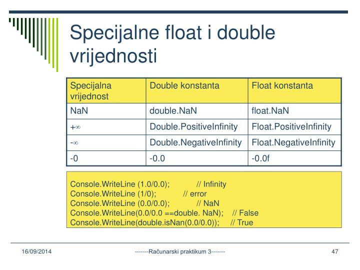 Specijalne float i double vrijednosti