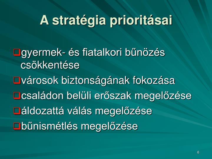 A stratégia prioritásai