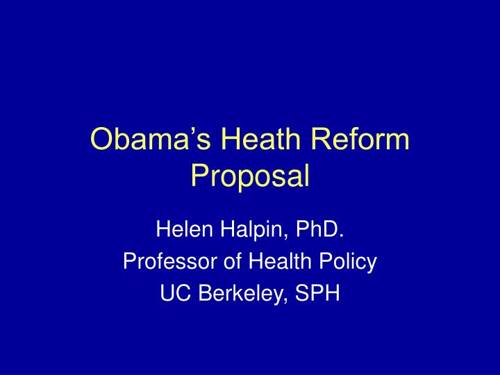 obama s heath reform proposal