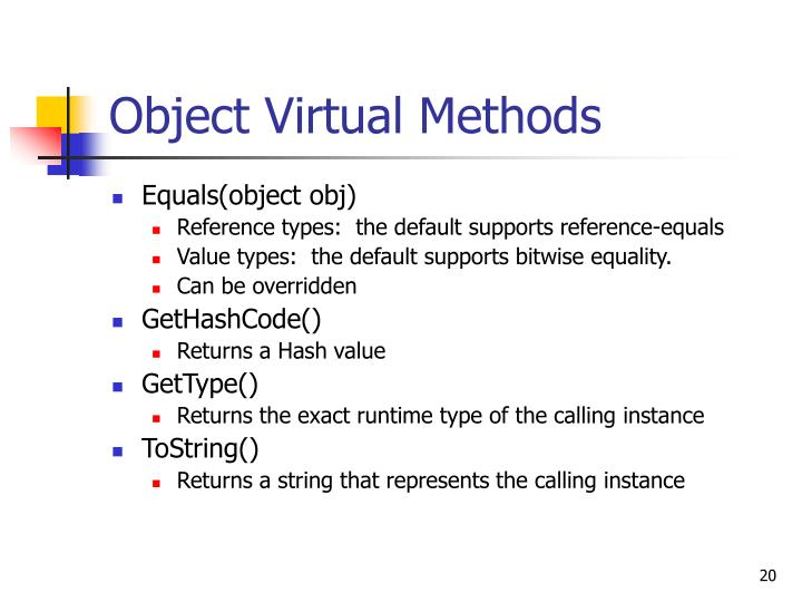 Object Virtual Methods