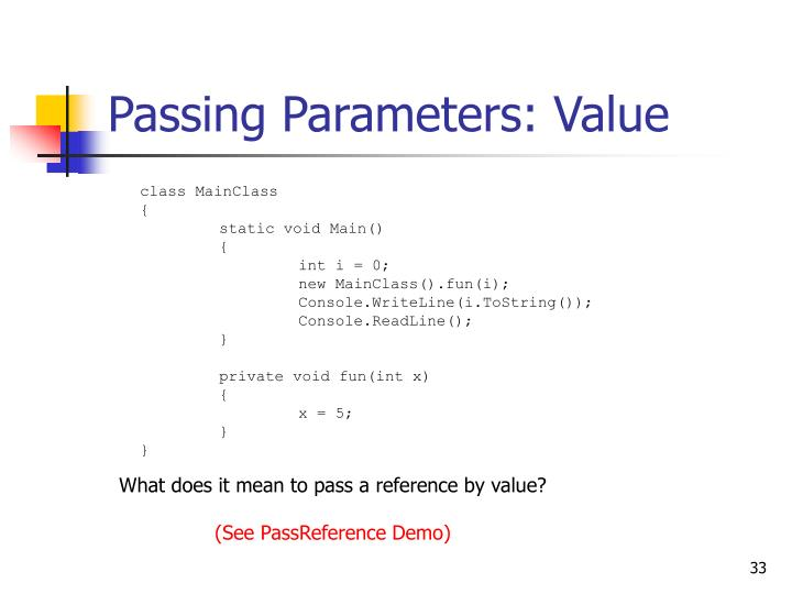 Passing Parameters: Value