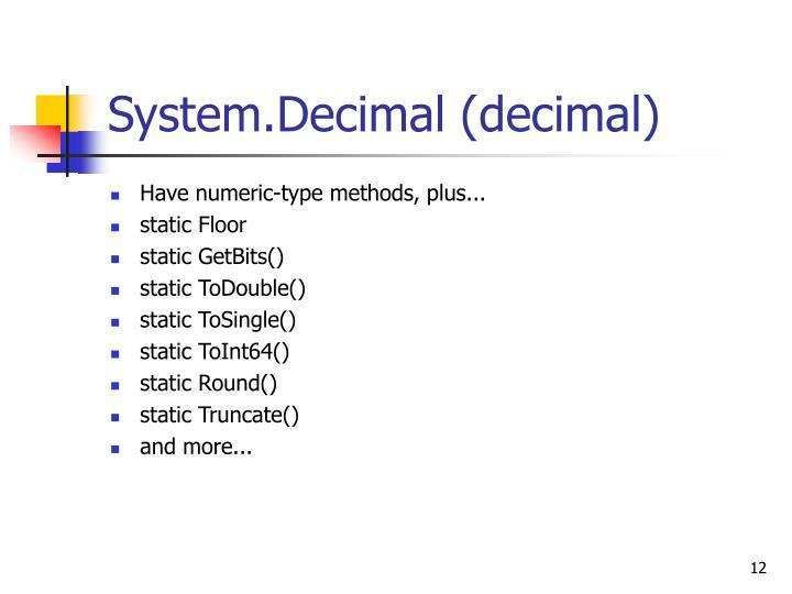 System.Decimal (decimal)