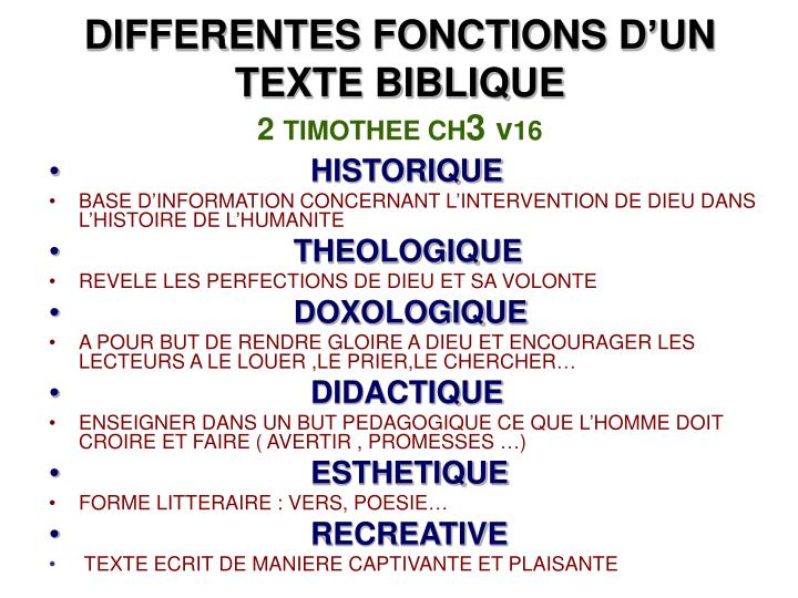 DIFFERENTES FONCTIONS D'UN TEXTE BIBLIQUE