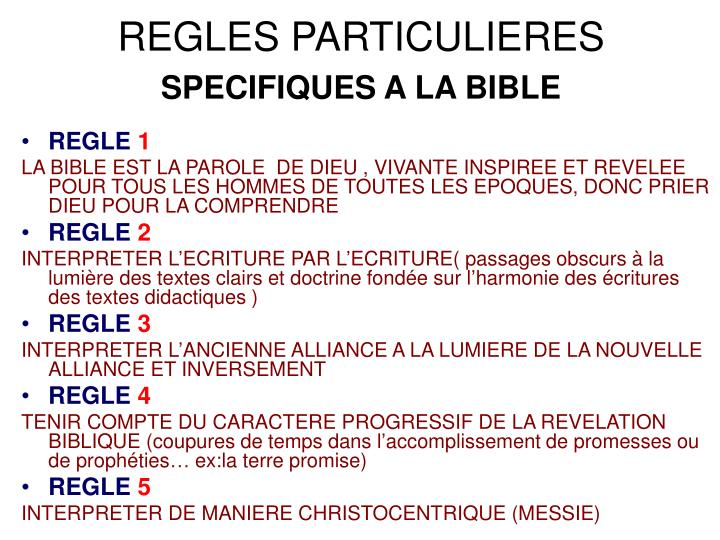REGLES PARTICULIERES