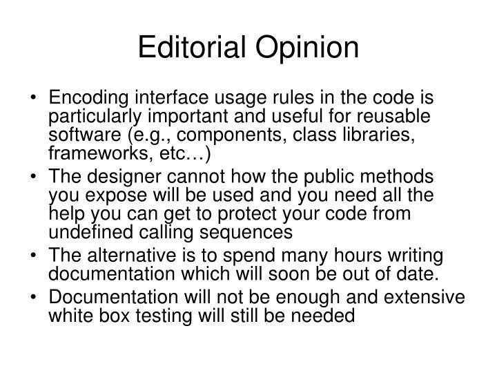 Editorial Opinion