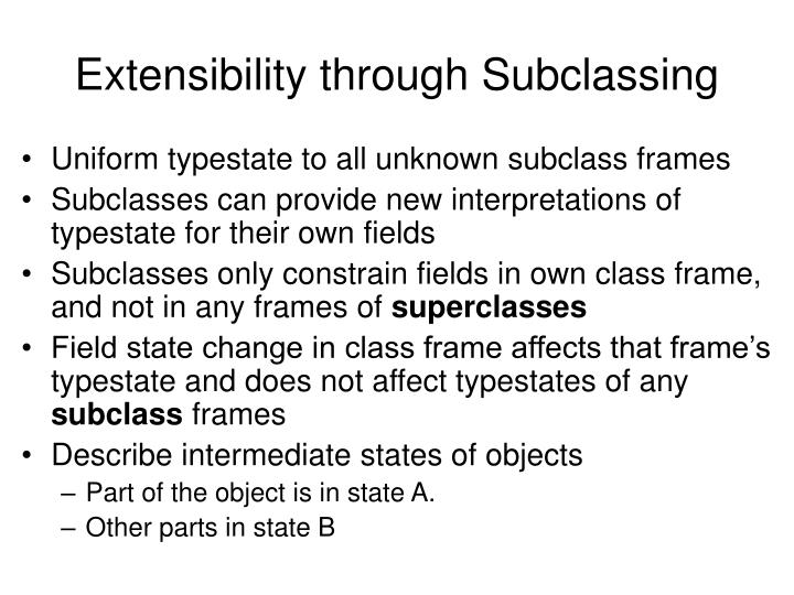 Extensibility through Subclassing
