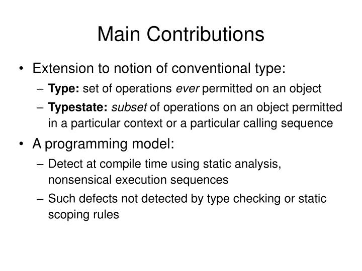 Main Contributions