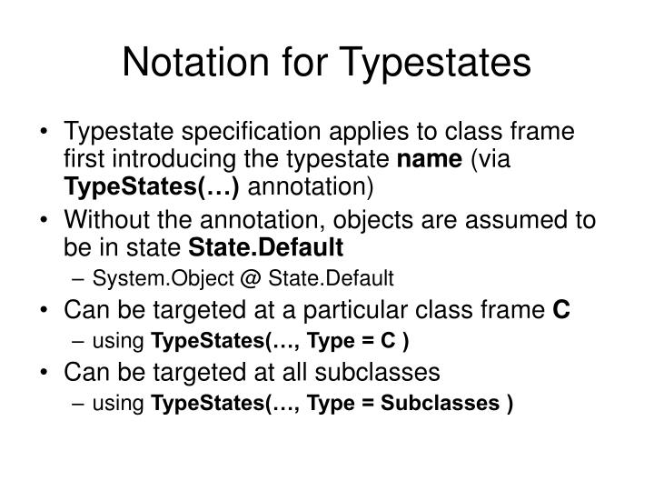 Notation for Typestates