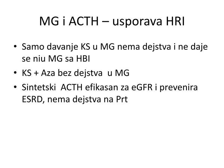 MG i ACTH – usporava HRI