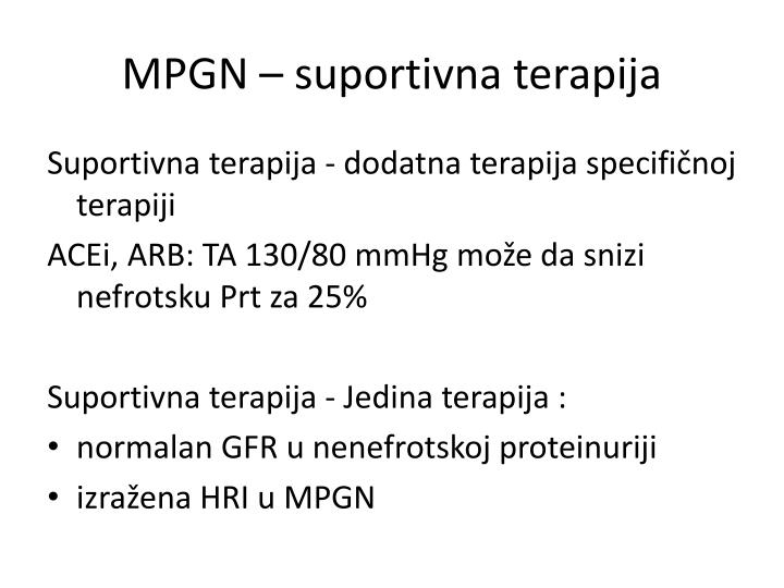MPGN – suportivna terapija