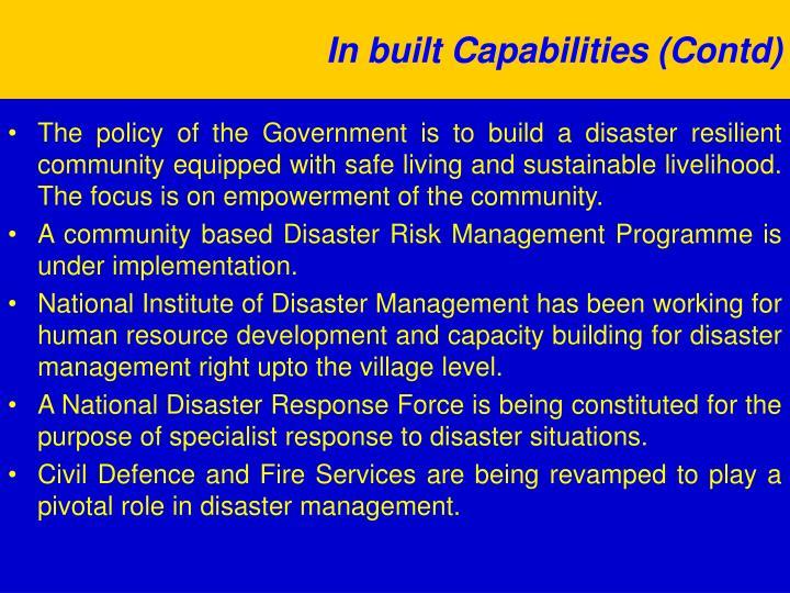 In built Capabilities (Contd)
