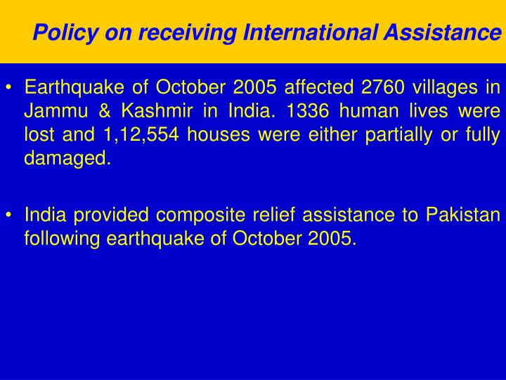 Policy on receiving International Assistance