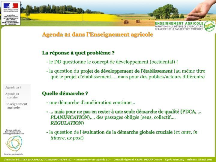 Agenda 21 dans l'Enseignement agricole