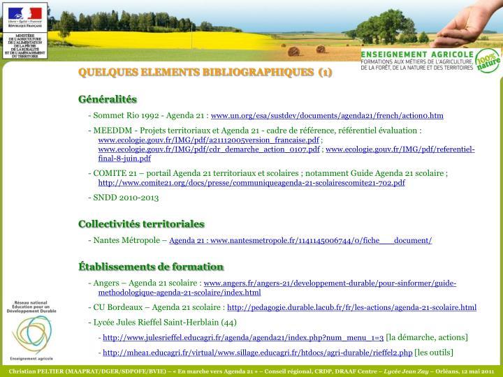 QUELQUES ELEMENTS BIBLIOGRAPHIQUES  (1)