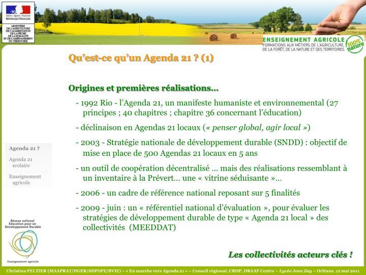Qu'est-ce qu'un Agenda 21 ? (1)