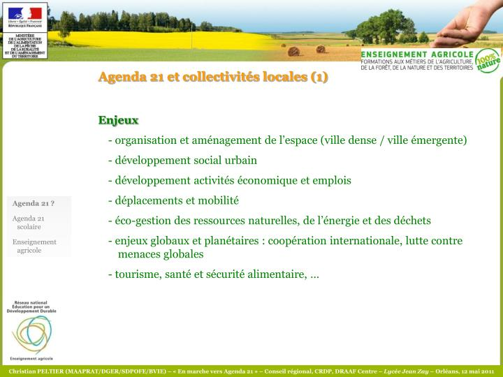 Agenda 21 et collectivités locales (1)