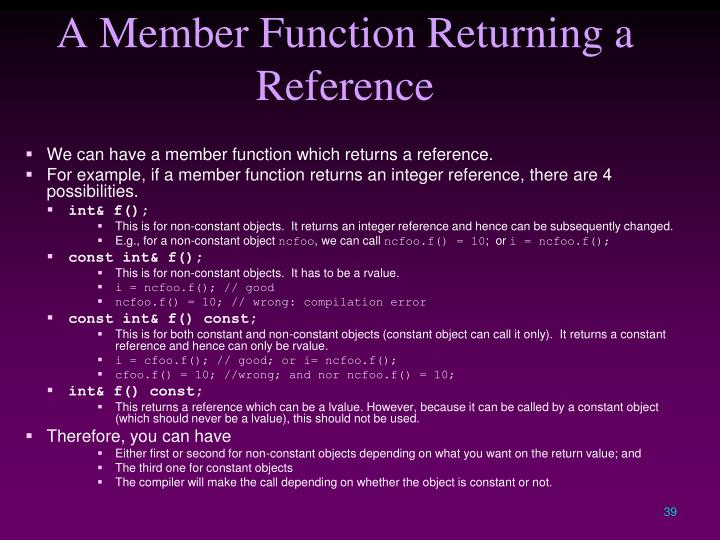 A Member Function Returning a Reference