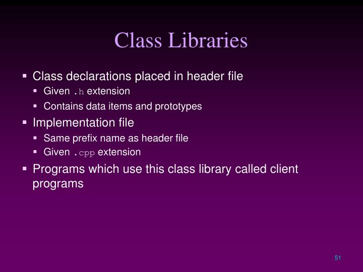 Class Libraries