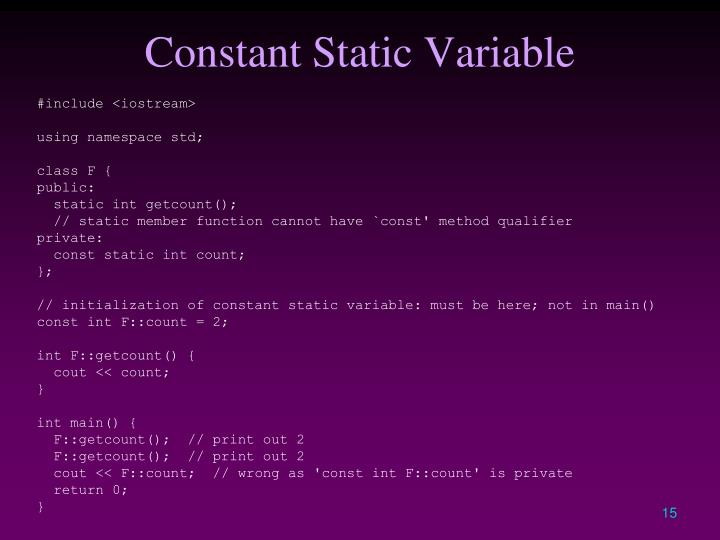 Constant Static Variable