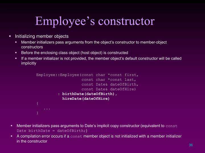 Employee's constructor