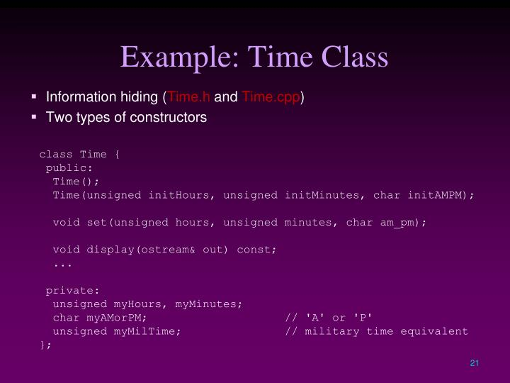 Example: Time Class