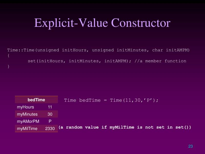 Explicit-Value Constructor