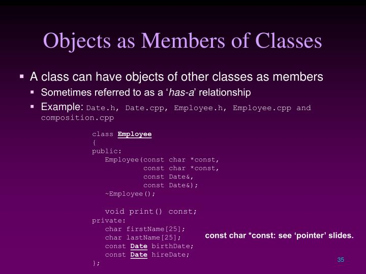 Objects as Members of Classes