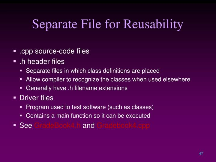 Separate File for Reusability