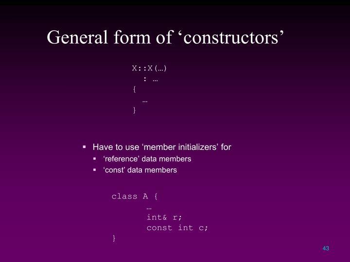 General form of 'constructors'