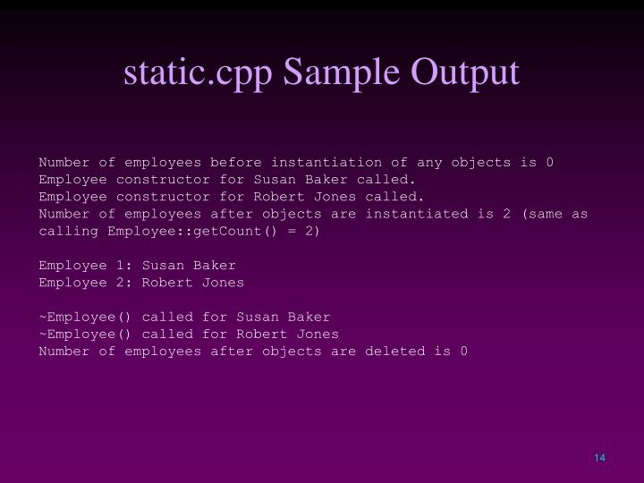 static.cpp Sample Output