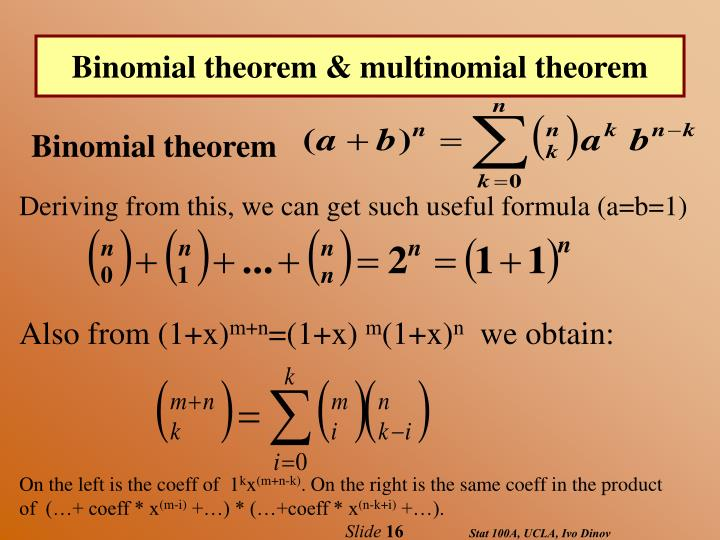 Binomial theorem & multinomial theorem